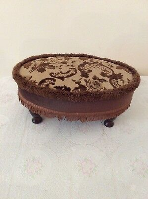 Antique Oval  Footstool with Upholstered Top