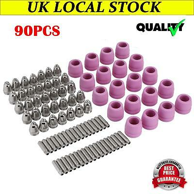 90pcs Plasma Cutter Cutting Torch Consumables Electrode Nozzles Cups Kit UK Hot