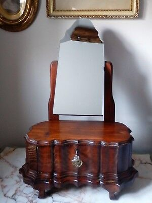 Unusual Antique Vintage Dressing Table Freestanding Mirror With Drawer Base