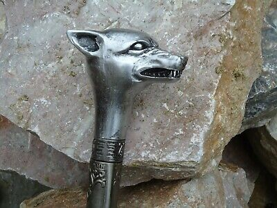 Wolf Or Dog Handle Walking Stick Hollow Metal Shaft / Dad Gift / Head / Xmas