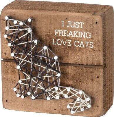Cat Lover String Art Box Sign -  I Just Freaking Love Cats