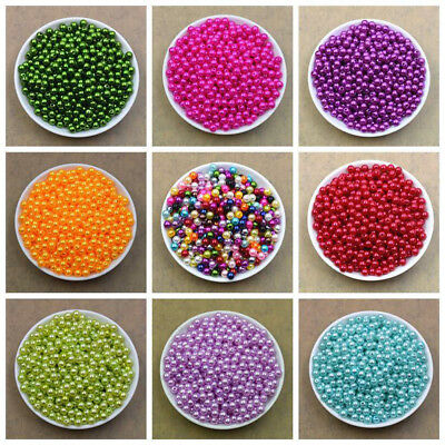 100 pcs Gemstone Round Loose Beads 6mm Imitation Pearl Jewellery Necklace Making