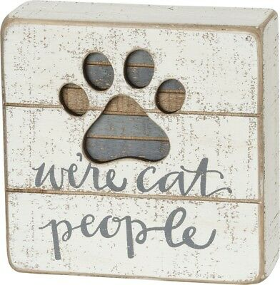 Cat Lover Slat Box Sign -  We're Cat People by Primitives by Kathy