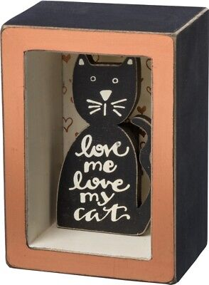 Cat Lover Recessed Box Sign -  Love Me Love My Cat by Primitives by Kathy