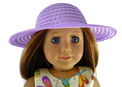 """For 18"""" American Girl Doll Clothes Accessories Lavender Straw Hat"""