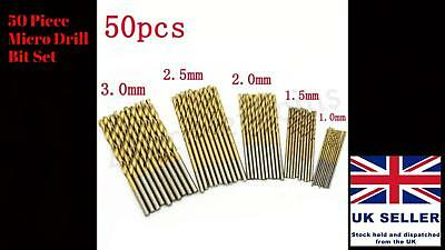 50 x Micro Round Shank Drill Bit Set Small Precision HSS Twist Drill Tool Dremel