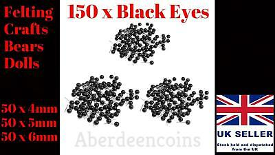 150 x 4-6mm Black Glass Eyes Kit Needle Felting for Teddy Puppets Dolls