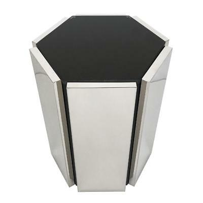 Chrome and Smoke Glass Hexagon Sculptural Side End Table Mid Century Modern