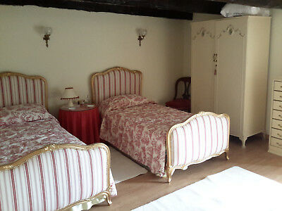 Pair Fully Restored French Antique Single Beds, complete with base & mattress.