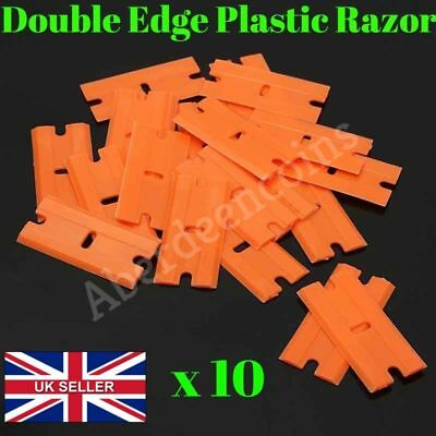 10 x DOUBLE EDGE PLASTIC RAZOR BLADES DIY CAR WINDOW SCRAPER STICKER REMOVAL