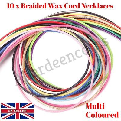 """10Pcs 20"""" 1.5mm Braided Wax Cord Cotton Necklace for DIY Jewellery Making Charm"""