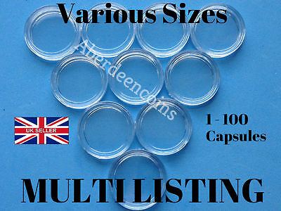 1 - 100pcs Coin Capsules Containers Boxes Holders All Sizes Available 18mm-50mm