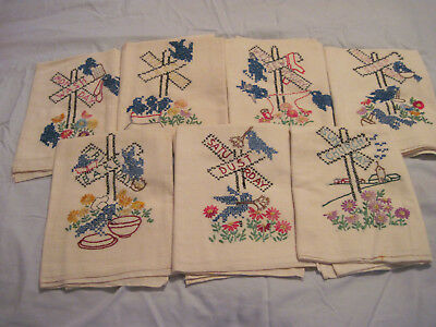 VTG Days of Week-7 Tea Towels-Embroidered-FLour Sacks-Cotton-Railroad Crossing