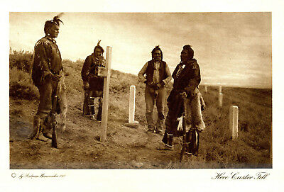 Indian Wars Crow Scouts At Grave Of Gen Custer Little Big Horn 1909 Photogravure