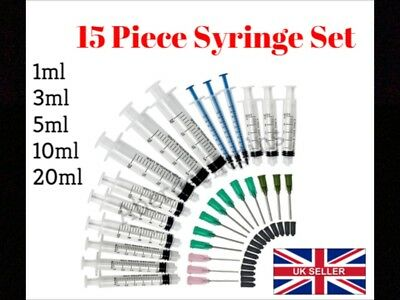 15 Pack 20ml 10ml 5ml 3ml 1ml Syringes with Blunt Tip Needles and Caps