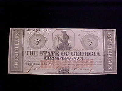 Confederate State of Georgia $5 CS Currency Note Dated 1862 Hand Signed ORIGINAL