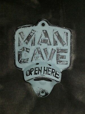 MAN CAVE Cast Iron Bottle Beer Opener Open Here Rustic Wall Mount Hanging Decor