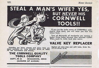 1944 Ad - VALVE KEY REPLACER, THE CORNWELL QUALITY TOOLS CO., MOGADORE, OH