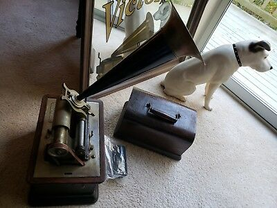 "Vintage Columbia ""Graphophone"" Cylinder Record Player, Nipper Dog & Mirror Lot"