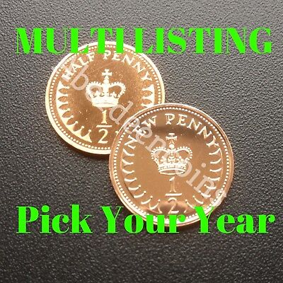 1971 - 1984 Royal Mint Proof + BU St Edward's Crown Half Penny 1/2p Pence Coin