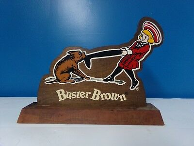 Vintage Buster Brown Advertisement table top Sign-Wood -Store Display 9.5 x 7