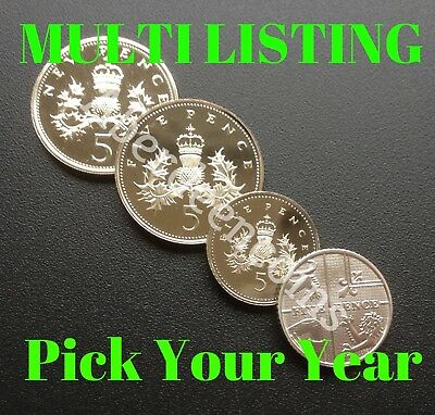 1971 - 2019 Royal Mint Proof + BU Crowned Thistle / Shield Five 5p Pence Coin
