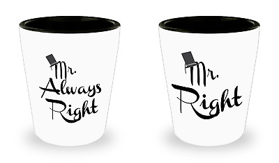 Mr. Right and Mr. Always Right Shot Glass Set Gay Couples Gift
