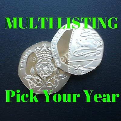 1982 - 2019 Royal Mint Proof + BU Tudor Rose / Shield Twenty 20p Pence Coin