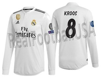 6fc1aa93 Adidas Tony Kroos Real Madrid Long Sleeve Authentic Ucl Home Jersey 2018/19.