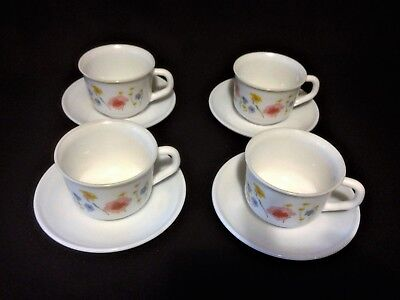 Vintage Arcopal (France) 4 cups & saucers, plus two bonus cups - pretty floral