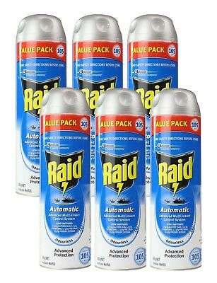 6 x RAID 305g REFILLS AUTOMATIC ADVANCED MULTI-INSECT SYSTEM INDOOR ODOURLESS