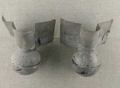 Vintage Galvanized Roof Ridge End Cap Balls Pair