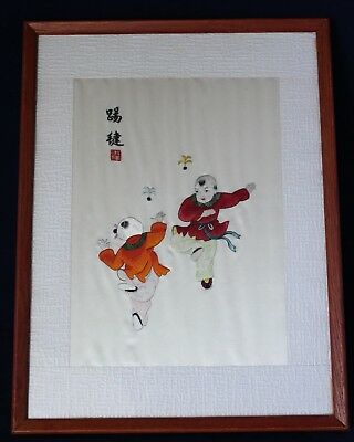 Framed Chinese Silk Embroidery Behind Glass - Children Playing