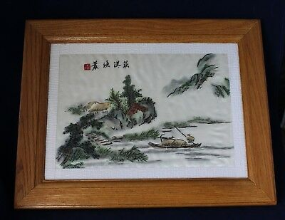 Framed Chinese Silk Embroidery Behind Glass - Man In Boat