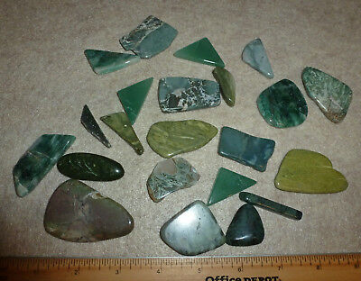 Polished Agates, Jaspers Flat stones for jewelry projects, mosaic mostly Greens
