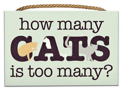 Cat Lover Wood Wall Sign - How Many Cats is Too Many?