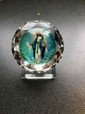 Christian Icon Virgin Mary Crystal Glass Stand