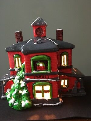 Vintage Ceramic Electric Lighted Christmas Village House, New and Mint Condition