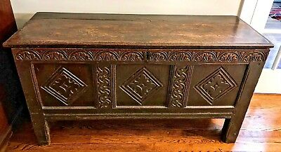 Antique 17th Century Charles II Oak Chest or Coffer - c1675 - Shipping Available
