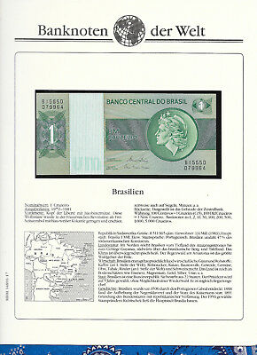 Banknotes of World Brazil 1980 1 Cruzeiro UNC P191Ac sign 20