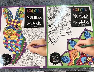 2 X Colour by Number: Mandalas and More & Animals & More By Hinkler