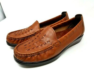 SAS Womens 8M Comfort Brown Leather Moc Toe Loafers   SC