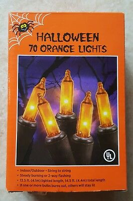 70 Orange Mini Lights - Halloween - Indoor/Outdoor Steady or Flashing