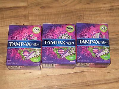3 PACKS OF TAMPAX TAMPONS RADIANT SUPER Absorbency, UNSCENTED 48 Tampons