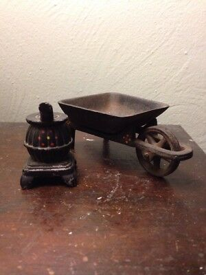Vintage Lot of 2 Miniature Cast Iron Pieces, Wheel Barrow & Stove-hand Decorated