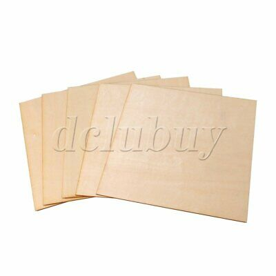 5pcs 200x200x1.5mm Unfinished Craft Basswood Wooden Sheets Woodworking