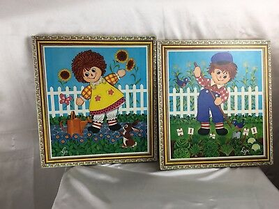 raggedy ann and andy  Wall Hanging  Vintage Collectible A Lot Of 2 childhood