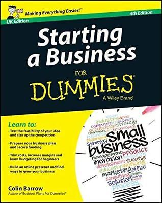 Starting a Business for Dummies fo by Colin Barrow New Paperback / softback Book