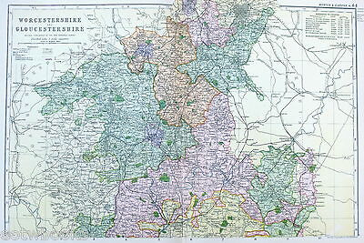 GLOUCESTERSHIRE & WORCESTERSHIRE -  Original large  Antique Map -  BACON , 1897.