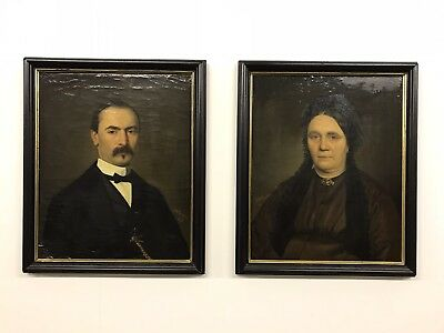 Pair Of 19th.c French Antique Portrait Paintings Restored Oil On Canvas 1871